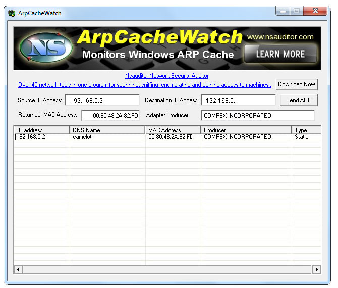 ArpCacheWatch monitors Windows ARP cache and allows to send an ARP request.