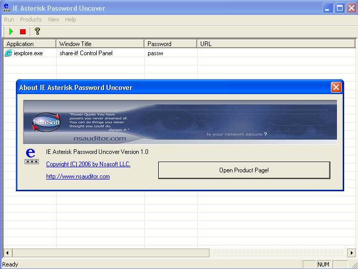 Click to view IE Asterisk Password Uncover 1.8.5 screenshot
