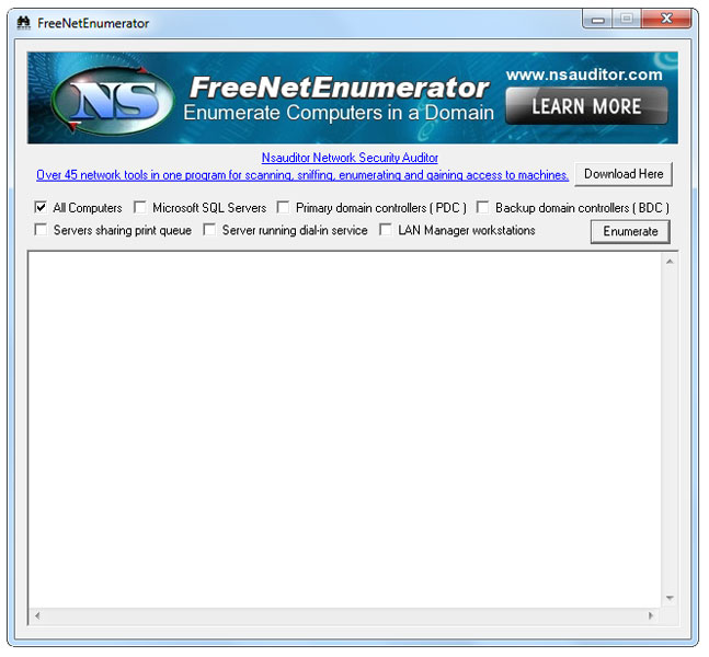 Click to view FreeNetEnumerator 1.3 screenshot