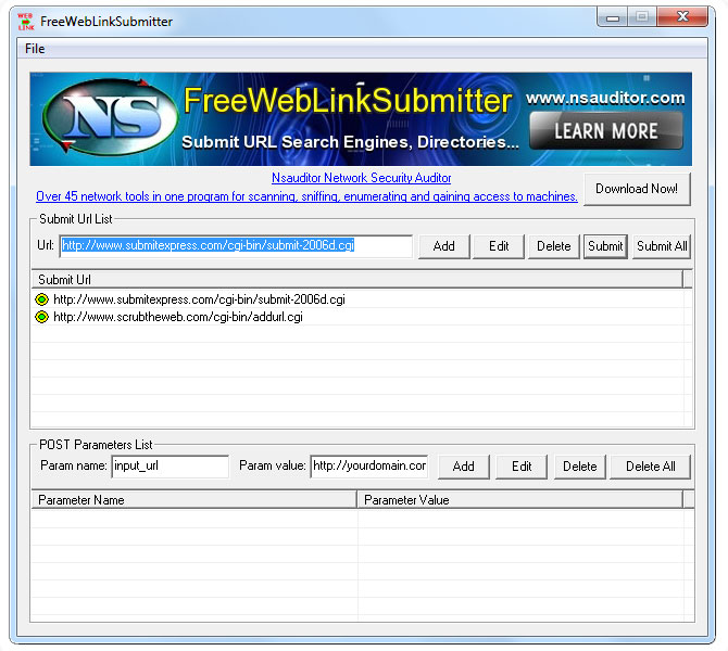 Click to view FreeWebLinkSubmitter 1.1 screenshot