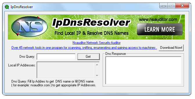 Find local IP and resolve DNS names.