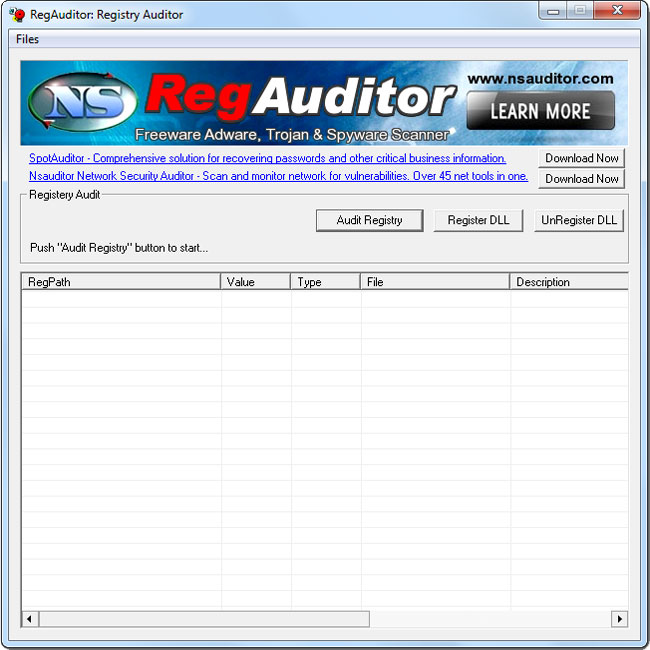 RegAuditor gives you a quick look at the Adware,malware and spyware installed on your computer including parasites and trojans. The tool is designed with a user-friendly interface and is easy to use.
