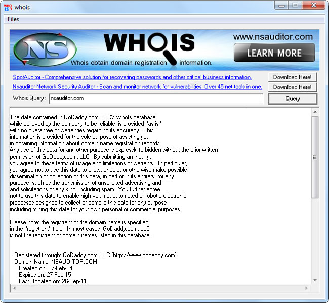 Whois Tool is a client utility that communicates with WHOIS servers located around the world to obtain domain registration information. Whois supports IP address queries and automatically selects the appropriate whois server for IP addresses.