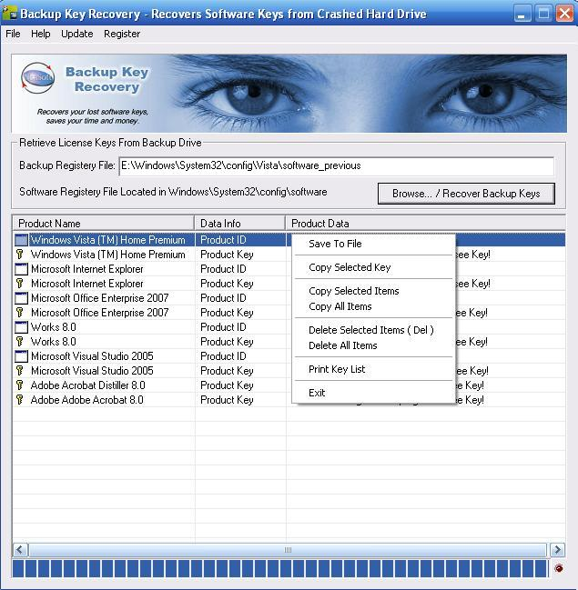 Backup Key Recovery Shareware