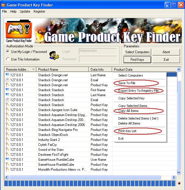 Click to view Game Product Key Finder 1.2.6 screenshot