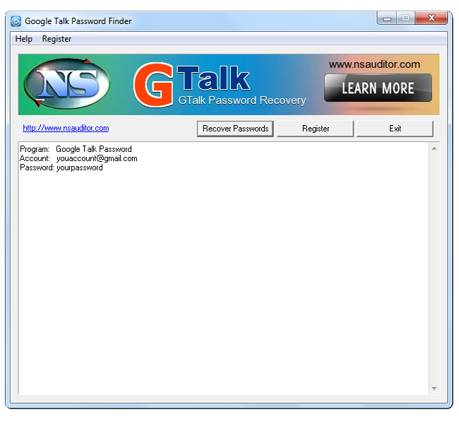 Click to view GTalk Password Finder 1.2.1 screenshot