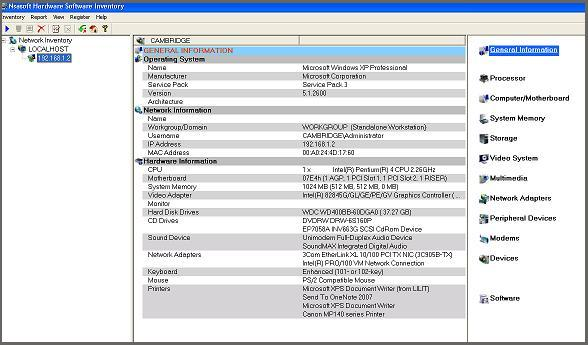 Click to view Nsasoft Hardware Software Inventory 1.6.3 screenshot