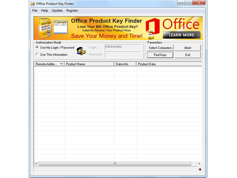 Click to view Office Product Key Finder 1.5.2 screenshot
