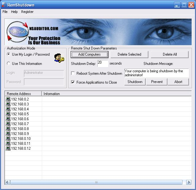 Click to view RemShutdown 2.9 screenshot