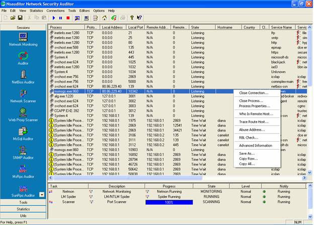 Nsauditor is an advanced network security scanner for auditing and monitoring network computers for possible vulnerabilities. The software checks network computers using all potential methods that a hacker might use to attack it.