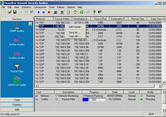 Packet Editor - Packet Editor is a tool to decode IP, ICMP, TCP, UDP, NETBIOS-SSN packets.