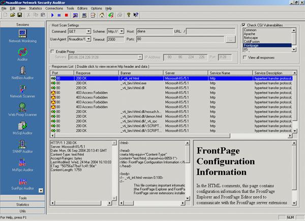Web Proxy Scanner - CGI probes are sent against web servers. This tool provides an ability to turn them off and if the user is running an audit from a proxy server, he/she can configure the scanner to run CGI probes through that proxy.