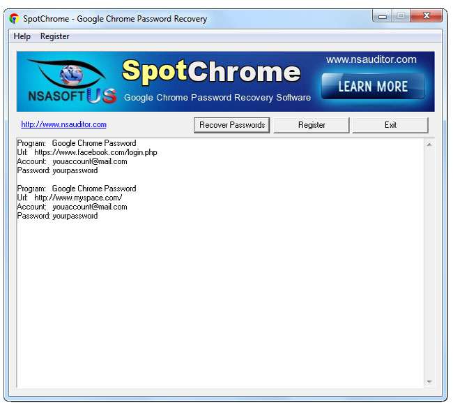 Click to view SpotChrome Password Recovery 1.3.5 screenshot