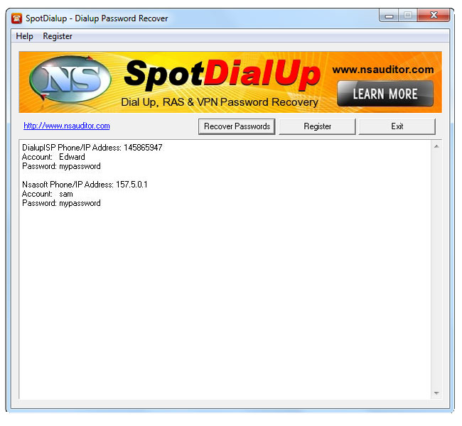 Screenshot of SpotDialup Password Recover