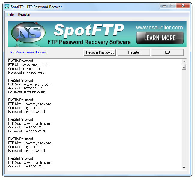 Click to view SpotFTP Password Recover 2.4.2 screenshot