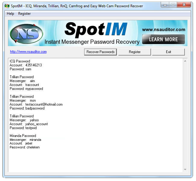 SpotIM Messenger Password Recovery Screen shot