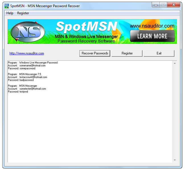 Click to view SpotMSN Password Recover 2.3.2 screenshot