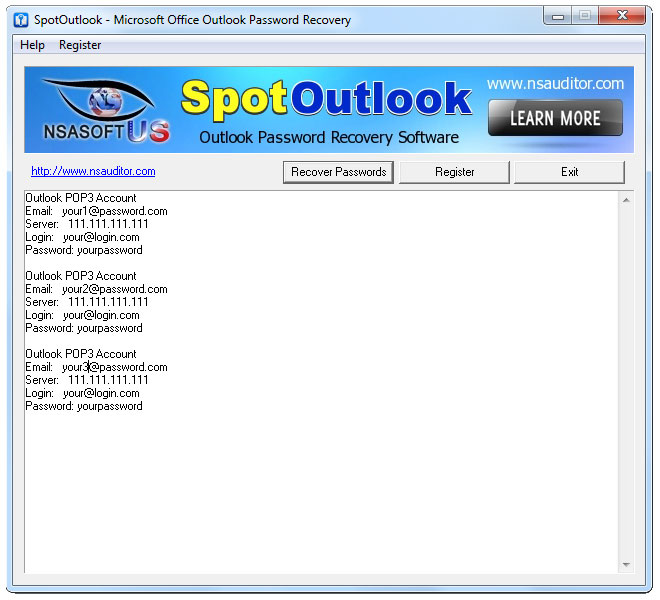 SpotOutlook recovers MS Outlook passwords.
