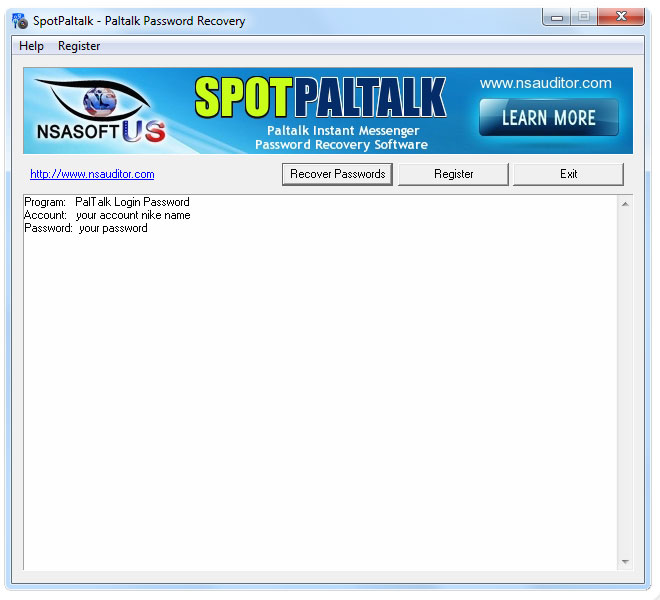 SpotPaltalk recovers Paltalk passwords.