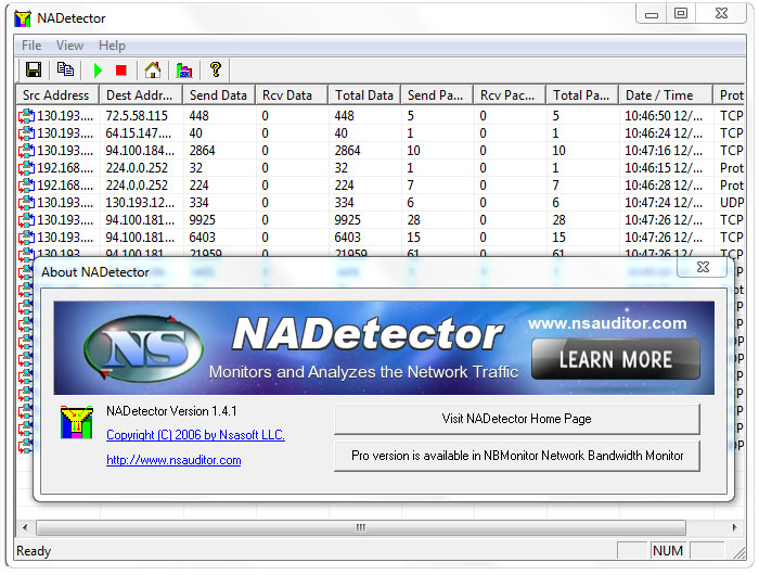 NADetector: Free Network Traffic Monitoring and Analyzing Software